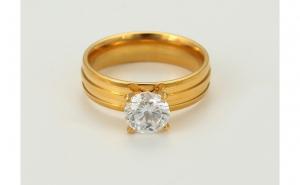 Inel inox placat aur 24K, cristal zirconiu
