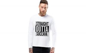 Bluza barbati alba - Straight Outta Suceava