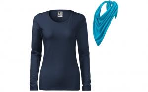 Bluza bleumarin de dama din Bumbac 100% si esarfa