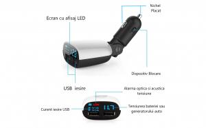 Incarcator-voltmetru Auto Sinco, 12-24 Volti, Alarma acustica, voltaj timp real, Dual USB 2.4+1 A