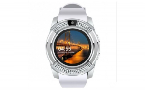 Ceas Smartwatch V8 Alb HandsFree Bluetooth 3.0 Micro SIM Android Waterproof Camera 1.3MP