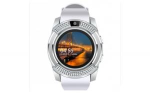Ceas Smartwatch V8 Alb HandsFree Bluetooth 3.0 Micro SIM Android Waterproof Camera 1.3MP