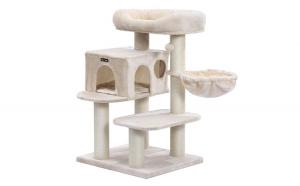 Ansamblu de joaca pentru pisici cu elemente reglabile Bej 112 cm
