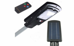 Proiector 30W cu panou solar, senzor de miscare si telecomanda