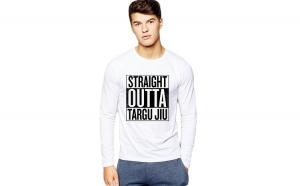 Bluza barbati alba - Straight Outta Targu Jiu