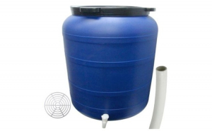 Pachet - Butoi 150L cu robinet, Plastic alimentar, Bidon cu capac prin infiletare Presa rotunda pentru butoi 45cm Teava pentru suflat pitrocit
