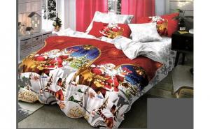 Lenjerie pentru pat dublu cu 2 fete, din finet de calitate superioara, 6 piese, Mos Craciun reni