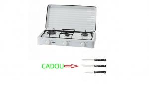 Aragaz plita cu 3 ochiuri ZLN0032, consum specific 0,380 kg/h, ALB + Cadou set cutite inox, 3 piese