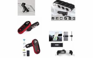 Modulator FM Mp3 player, cu incarcator pentru diverse dispozitive incorporat + Priza bricheta tripla cu USB + Suport auto telefon
