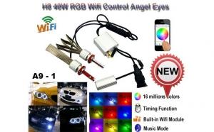 Angel eyes 40w pentru BMW se echimba in 6-8 culori cu ajutorul telefonului mobil prin wi-fi, la numai 500 RON de la 899 RON