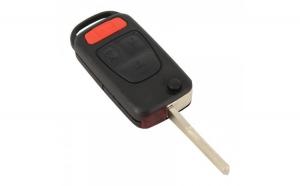 Mercedes-Benz - Carcasă cheie tip briceag 3 butoane, buton panică, lamă 2 piste
