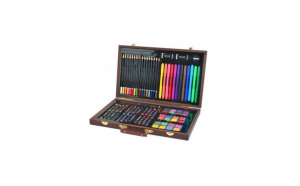 Set 81 elemente pentru pictura si desen in servieta din lemn, maro