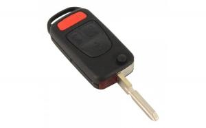 Mercedes-Benz - Carcasă cheie tip briceag 3 butoane, buton panică, lamă 4 piste