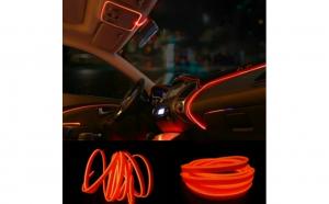 Fir cu neon 5 metri 12V lumina portocalie-led wire