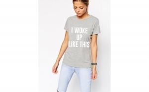 Tricou dama gri cu alb -  I woke up like this la doar 65 RON in loc de 130 RON