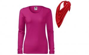Bluza roz zmeura, de dama, din bumbac 100% si esarfa