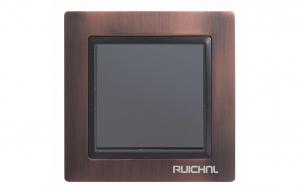 Intrerupator Ruichnl RC-3502 negru, rama metal maro bronz