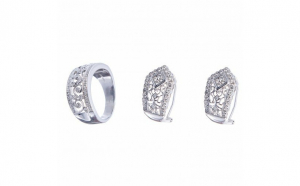 Set din aur alb 14K cu diamante naturale