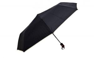 Umbrela dama, pliabila, automata, buton deschidere, neagra cu margini bej, 110cm diametru, articulatii anti-vant la doar 24.99 RON