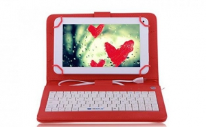 Husa tableta 9.7 inch, cu tastatura micro usb, rosu C18