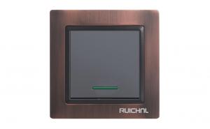 Intrerupator cu LED Ruichnl RC-3501 negru, rama metal maro bronz