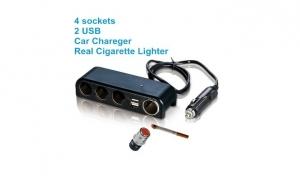 Incarcator Universal, Adaptor Priza Bricheta 12-24V Auto: 2 x USB, 3 porturi adaptor bricheta 3Ah DC 5V+ 1 port incarcare bricheta la doar 45 RON in loc de 96 RON