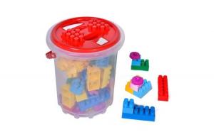 Galeata cu cuburi pentru copii cu diferite piese de construit, 48 de piese multicolore