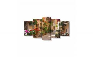 Tablou MultiCanvas 5 piese, Alee Medievală cu Flori în Spello, 100 x 50 cm, 100% Poliester