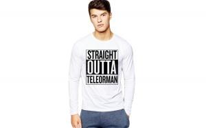Bluza barbati alba - Straight Outta Teleorman