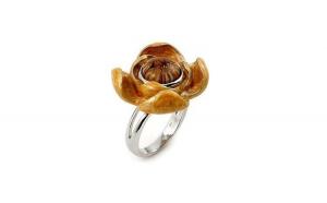 Inel argint 925 cu sticla de murano in forma de floare