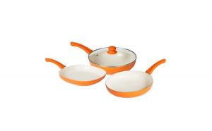 Set 4 piese: tigaie wok, tigaie, grill,