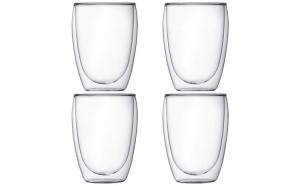 Set 4 pahare din sticla cu pereti dubli, Quasar & Co., termorezistente, design modern, diametru 8 x h11.5 cm, 350 ml