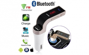 Modulator FM Hands Free Buletooth 4 in 1, negru, argintiu sau gold