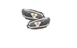 Set 2 faruri LED DRL compatibil cu VW Golf VI 6 (2008-2012), negru
