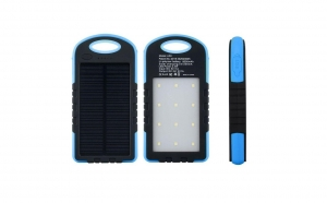 Baterie externa Power Bank 5000 mah, incarcare solara si panou LED-uri C188