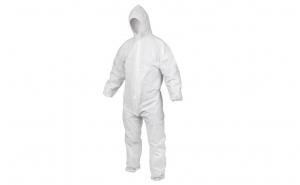Combinezon impermeabil marime XL, alb, prolipropilenta 80gr/mp