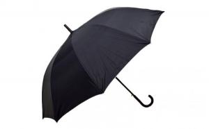 Umbrela tip baston, dama, automata, neagra cu gri metalizat 140cm diametru - articulatii anti-vant la doar 29.99 RON