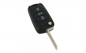Hyundai - Carcasă cheie tip briceag, 3 butoane, lamă pe stânga