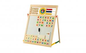 Tabla magnetica din lemn cu 2 fete pentru scris cu creta si desenat cu carioca