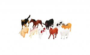 Set animale de ferma, 10 Figurine din Cauciuc, DY1005
