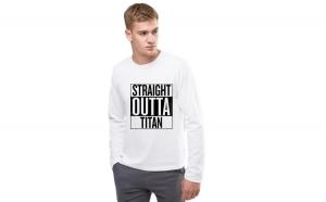 Bluza barbati alba - Straight Outta Titan