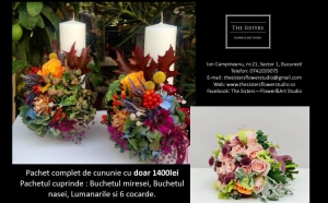 Pachet complet flori de cununie cu DOAR 1400 RON in loc de 2000 RON