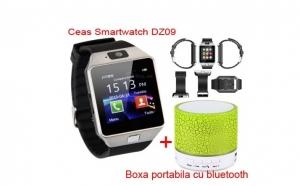 Pachet Ceas SmartWatch DZ09 Metalic cu telefon, microSIM, microSD, camera + Boxa puternica cu Bluetooth si conectare la telefon