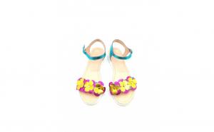 Sandale turquoise din piele naturala