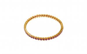Bratara fixa, aur galben 22K, cu rubine, BTAU6