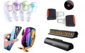 Pachetul Masina Noua: Suport telefon auto cu incarcare, Odorizant auto, Suport numar telefon & Set 2 adaptoare pentru centura