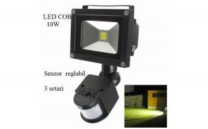 Proiector 10w cu senzor reglabil PIR in 3 moduri, LED COB, grad de protectie IP66