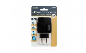 Adaptor de retea USB + Type-C PD18W