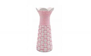 Vaza decorativa impletita, roz, 30 x 12 cm