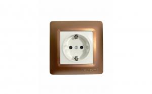 Priza simpla Ruichnl RC-1114, rama maro bronz